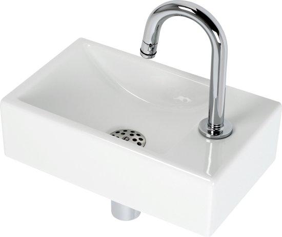 Plieger Fontein Toilet Rechts - Set - Fontein 37 x 23 cm inclusief GROHE fonteinkraan en sifon - Keramiek - Wit in Stroodorp