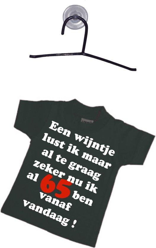 Mijncadeautje - Mini T-shirt - met hangertje - zwart - Lekker wijntje nu ik 65 ben in Hanzinelle