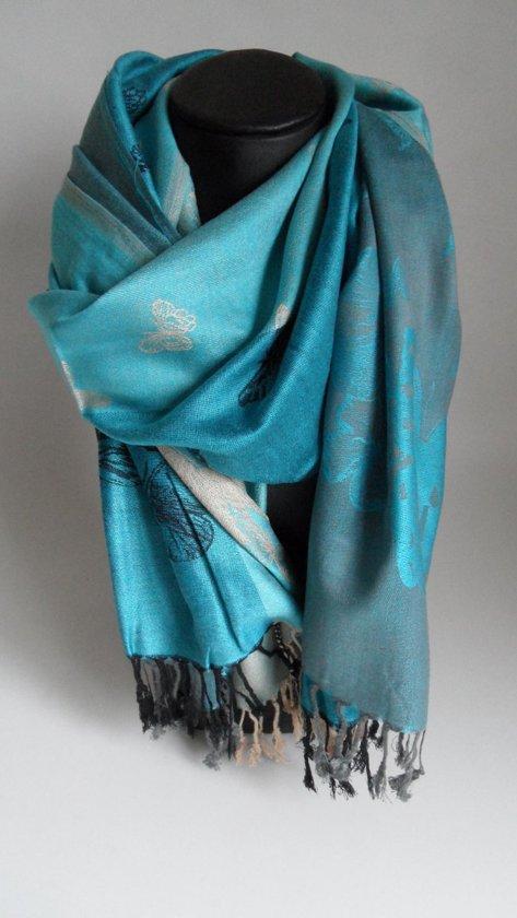Mooie sjaal met vlinders kleur blauw beige zwart sport en vrije tijd - Beige warme of koude kleur ...