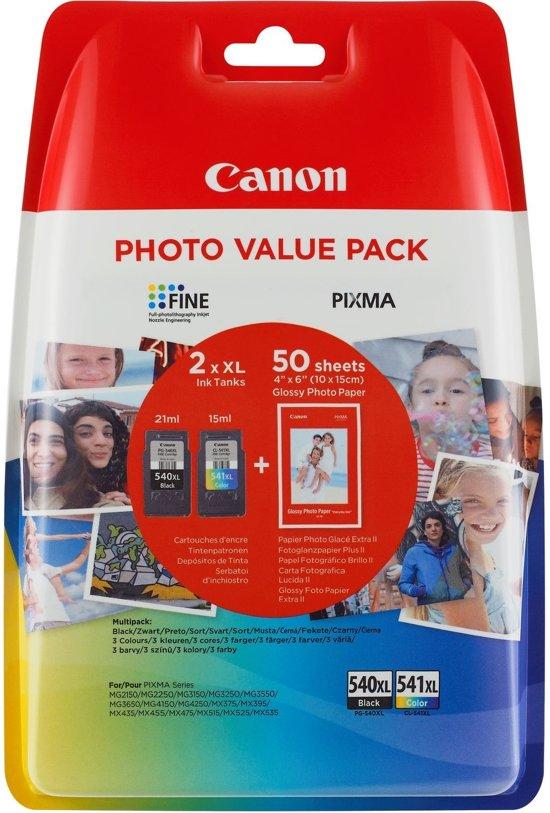 CANON PG-540XL/CL541XL Value Pack blister 4x6 Phot Paper GP-501 50sheets + XL Black & XL Colour Cartridges