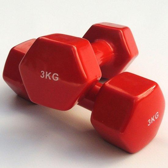 Dumbell set 2 x 3 kg sport en vrije tijd - Kleur rood ruimte ...
