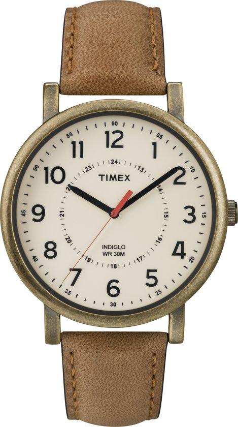 Timex classic round bruin vintage horloge roestvrij stalen kast - Roestvrijstalen kast ...
