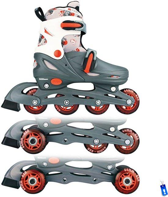 Inline Skates Rolschaatsen Quads - 3 in 1 - Verstelbaar - Grijs / Rood / Wit - maat 34-37 in Wortegem-Petegem
