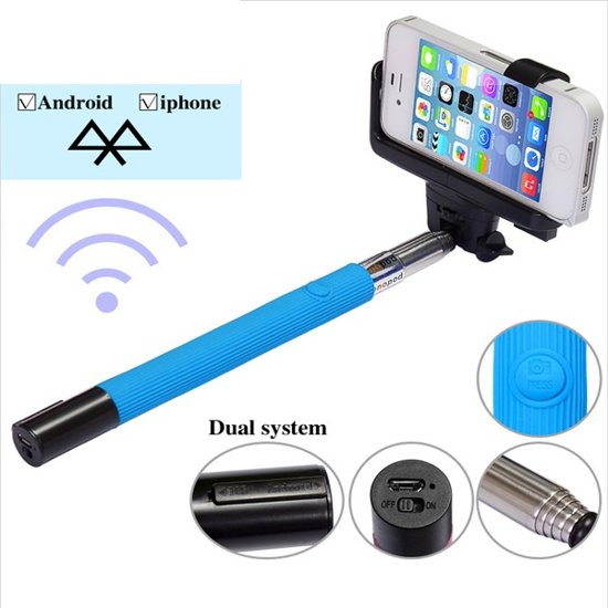 selfie stick bluetooth afstandsbediening voor iphone 6 4 7 inch blauw. Black Bedroom Furniture Sets. Home Design Ideas