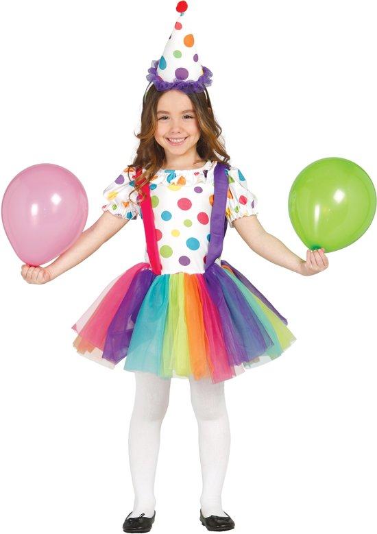 Kleurrijk clownskostuum voor meisjes - Verkleedkleding - Maat 122/134 in Outer