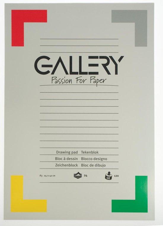Gallery tekenblok houtvrij papier 120 g/m²formaat 297 x 42 cm (A3) blok van 24 vel