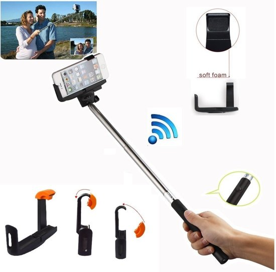 selfie stick met knop in het handvat voor uw apple iphone 5 5s 5c. Black Bedroom Furniture Sets. Home Design Ideas