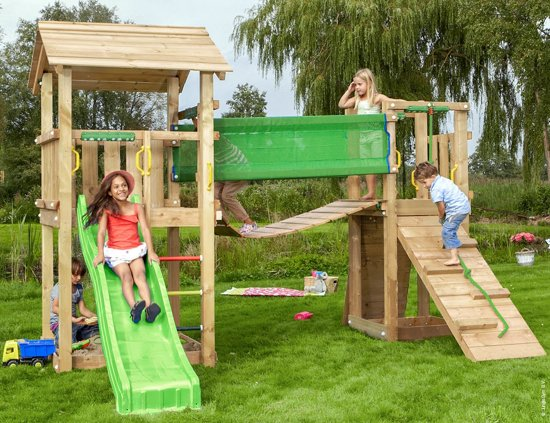 Casa Bridge - Speeltoestel voor Buiten - Met Glijbaan - Groen in De Munte
