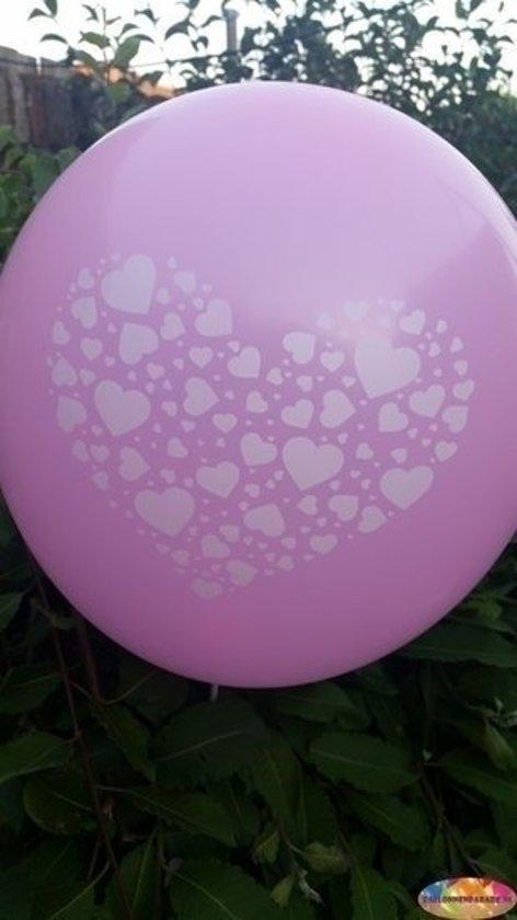 Voordeelpak 100 stuks Roze ballon met witte hartjes in groot hart in groot hart 30 cm hoge kwaliteit in Hoog Baarlo