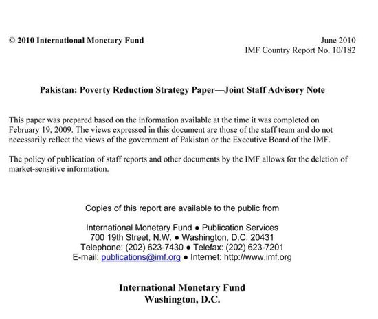 Pakistan: Poverty Reduction Strategy Paper - Joint Staff Advisory Note