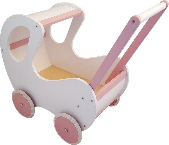 Playwood - Houten Poppenwagen wit / roze klassiek met kap in Vezin