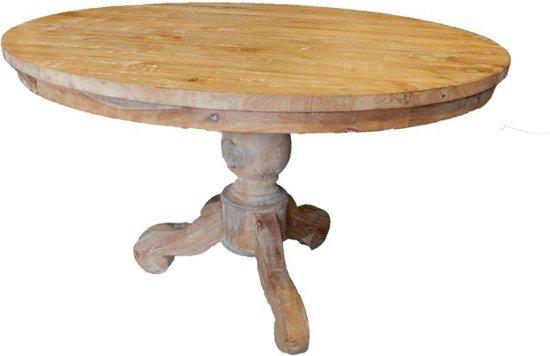 Ronde teak eettafel tafel 120 cm rond met bolpoot for Ronde eiken eettafel