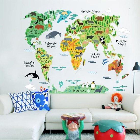 Muursticker wereldkaart dieren full color kinderkamer 95 x 73 cm mooiaandemuur - Kleur slaapkamer bebe ...