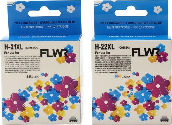 Merkloos - Inktcartridge / Alternatief voor de HP 21XL+22XL / Zwart / Kleur