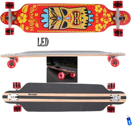 Longboard Cruiser Drop Through - 104 cm - ABEC 11 - LED wielen - Hawaii - Skate-Plein in Beek