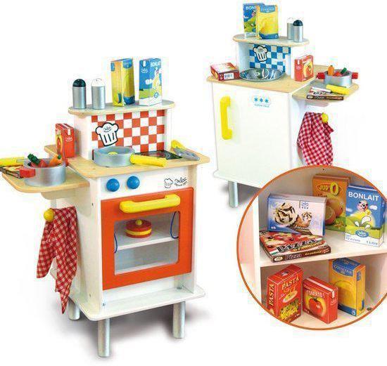 Keuken Hout Speelgoed : bol.com Speelgoed keuken van hout – fornuis, oven, koelkast en