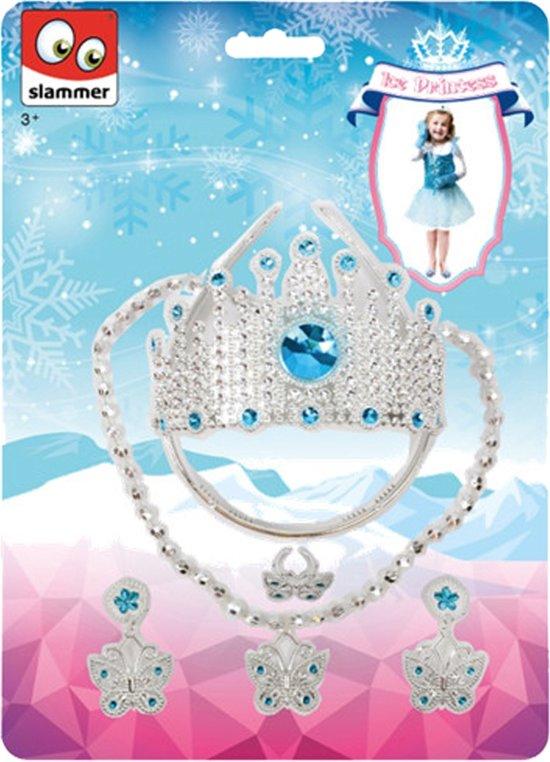 Slammer Ijsprinses Set Kroon Met Juwelen Zilver/ Blauw in Paasloo