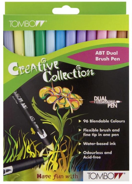 TOMBOW Dual Brush Pen ABT, 12-colours-set, pastels colours in Baal