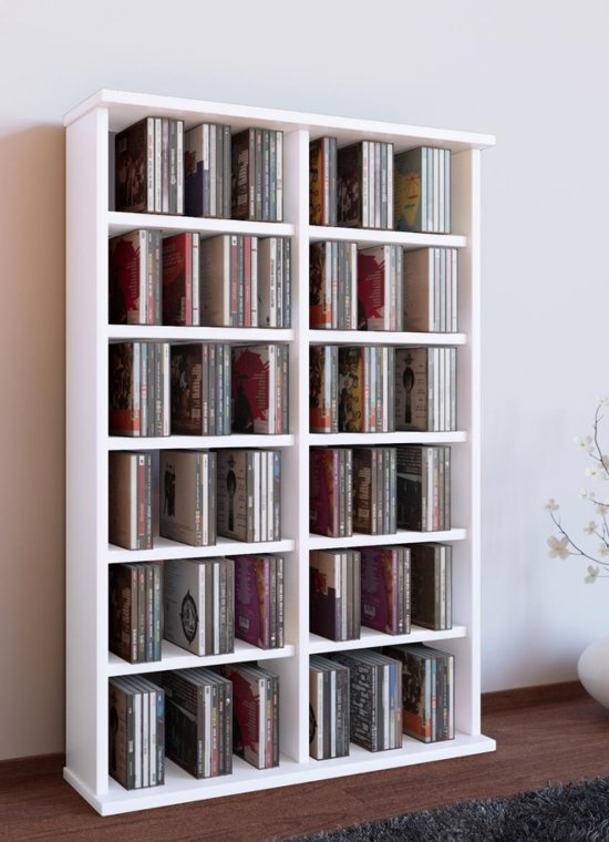 vcm cd dvd meubel ronul zonder glas deur wit voor 300cds 130dvds. Black Bedroom Furniture Sets. Home Design Ideas