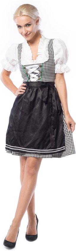 Tiroler kostuum voor dames – Dirndl jurkje Birgit zwart-wit geruit met een zwart schortje maat 38 in Wamel