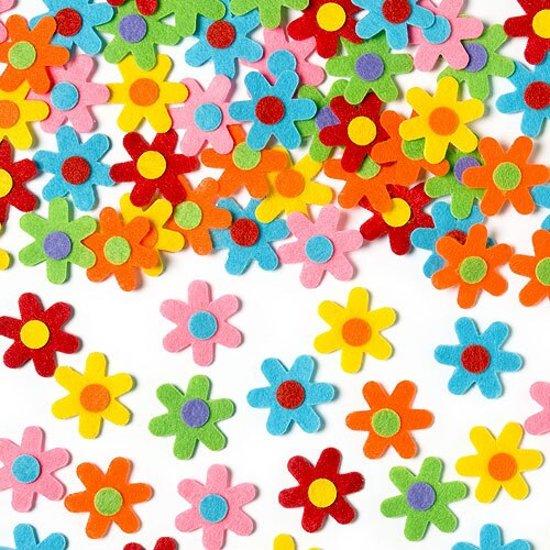 Zelfklevende vilten lente bloemen - knutselspullen voor kinderen - scrapbooking verfraaiing om te maken en versieren kaarten decoraties en knutselwerkjes (60 stuks) in Heiakker