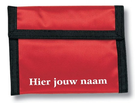 Mijncadeautje - Klittenband Portemonnee - Polyester - Rood - Elke naam leverbaar in Zeesse