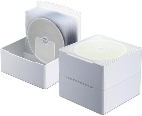 Opbergbox cd en dvd opbergsysteem wit set for Boeken opbergsysteem