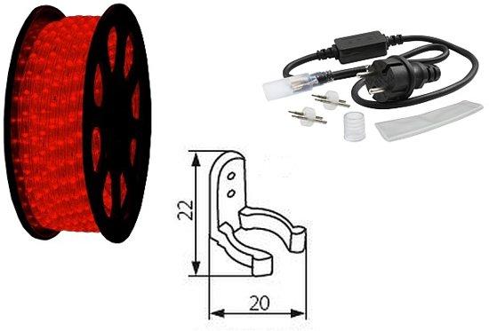 Plug & Play LED lichtslang set bestaande uit: 6 meter lange LED lichtslang - rood  - met aansluitset en 10 bevestigings clips. in Montleban