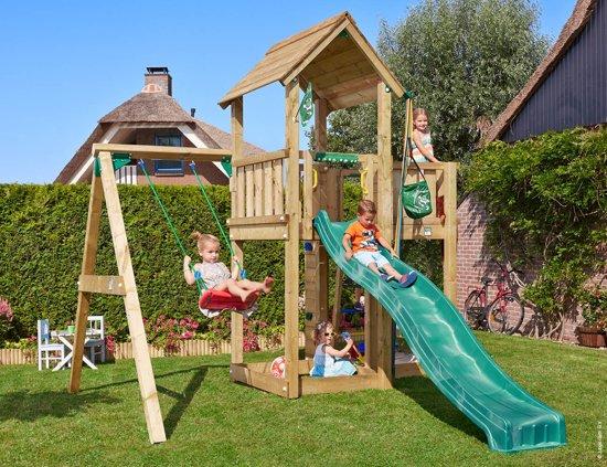 Mansion 1-Swing - Speeltoestel Schommel - Met Glijbaan - Donkergroen in Noenes