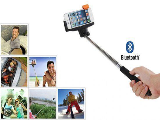 selfie stick met knop in het handvat voor uw apple iphone 5 bluetooth. Black Bedroom Furniture Sets. Home Design Ideas