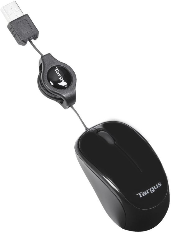 Targus Muis - Compact met oprolbare kabel / Blauw