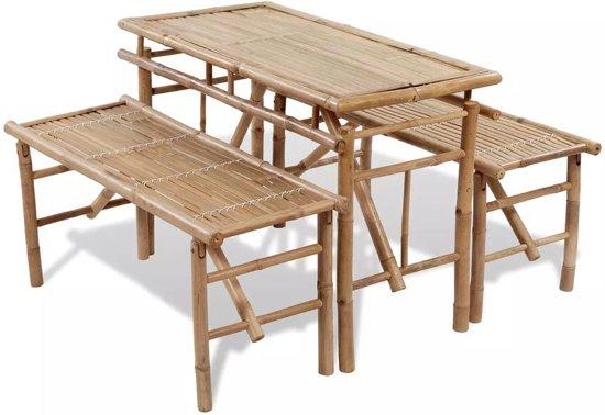 Picknicktafel bamboe inklapbaar met twee bankjes in Haakswold