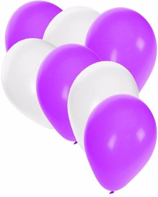 30x ballonnen wit en paars in Bissegem