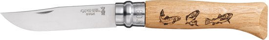 Opinel No.08 Trout Engraved - Zakmes - RVS - Hout in Rotstergaast / Rotstergast