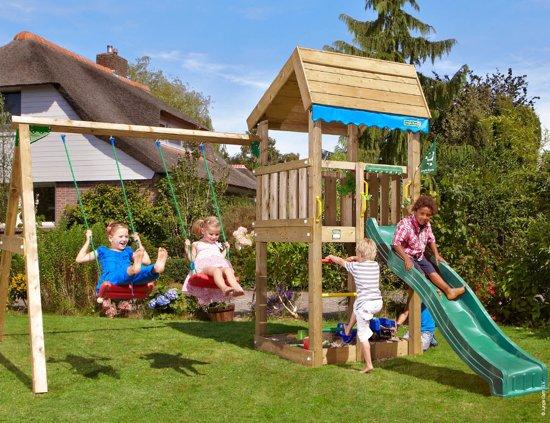 Home 2-Swing - Houten Speeltoestel met Schommel - Met Glijbaan - Donkergroen in Tongerlo