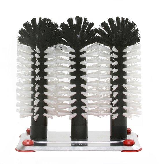 Bar Professional Spoelborstel - Met Voet - Aluminium - 3-delig - 18 cm in Eke