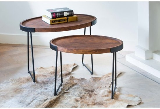 bijzettafel tafel set 2 ovaal hout zwart bruin. Black Bedroom Furniture Sets. Home Design Ideas