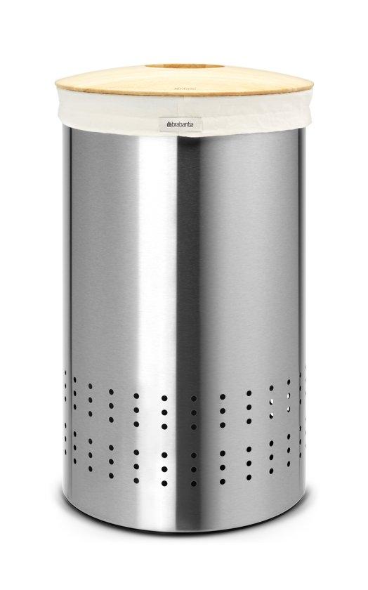 Brabantia Wasmand Wasbox met uitneembare waszak - Rond - 50 liter - Matt Steel Fingerprint Proof met Woodline deksel