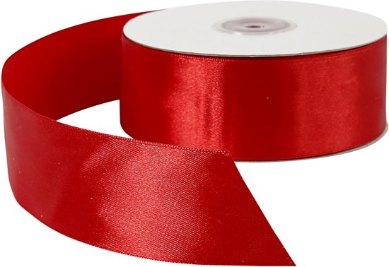 Satijn lint, b: 38 mm, rood, 50 m in Ottoland