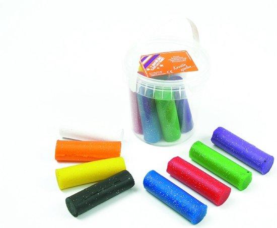 Glitter klei emmer met 8 rol kleur gesorteerd in Anloy