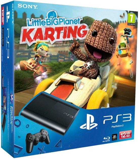Sony PlayStation 3 Console 12GB Super Slim + 1 Wireless Dualshock 3 Controller + Little Big Planet Karting - Zwart PS3 Bundel
