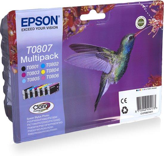 Epson T0807 - Inktcartridge / Zwart / Cyaan / Geel / Magenta