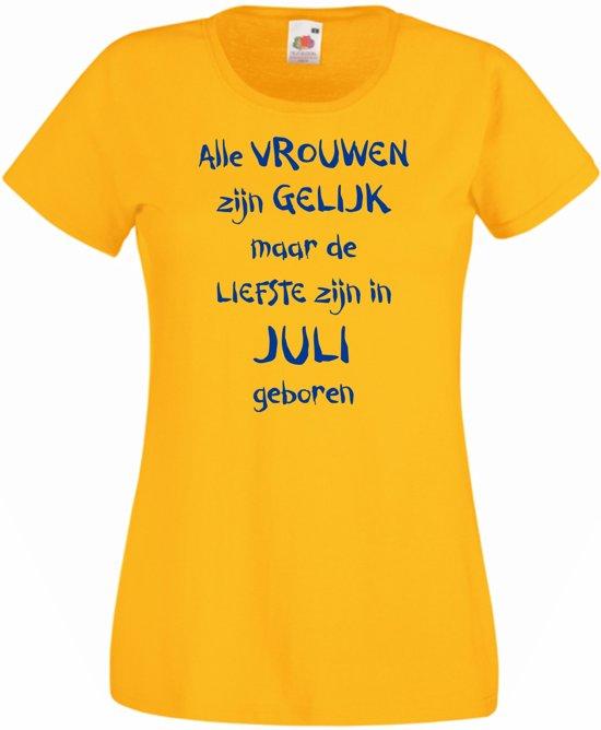 Mijncadeautje - T-shirt - geel - maat L - Alle vrouwen zijn gelijk - januari in Bargebek / De Bargebek