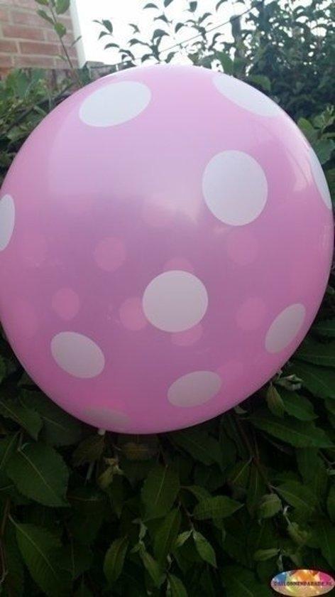 Voordeelpak 100 stuks Roze ballon met witte stippen 30 cm hoge kwaliteit in Stuifzand
