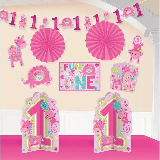 Kamer decoratie set eerste verjaardag meisje safari roze - Decoratie slaapkamer meisje jaar ...