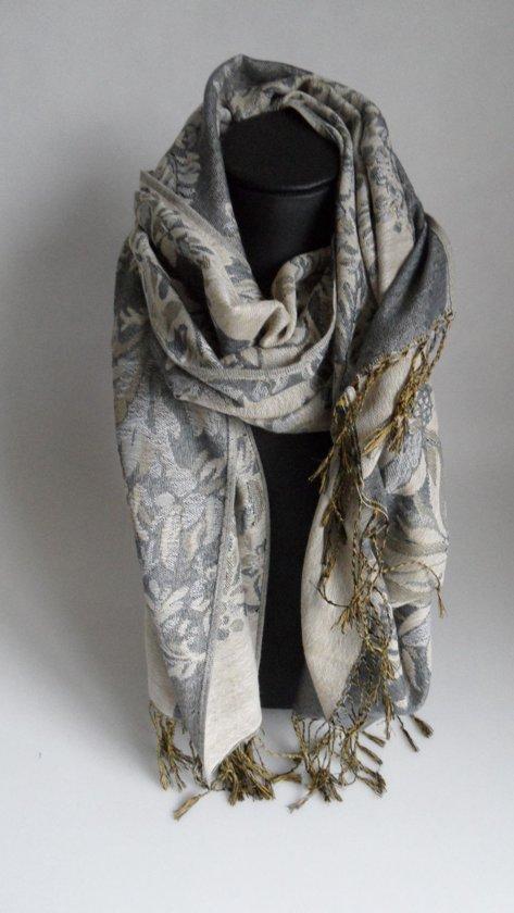 Mooie warme sjaal met bloemenprint kleur grijs beige sport en vrije - Beige warme of koude kleur ...
