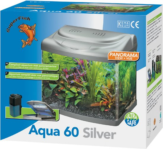 superfish panorama aquarium 60 liter zilver. Black Bedroom Furniture Sets. Home Design Ideas