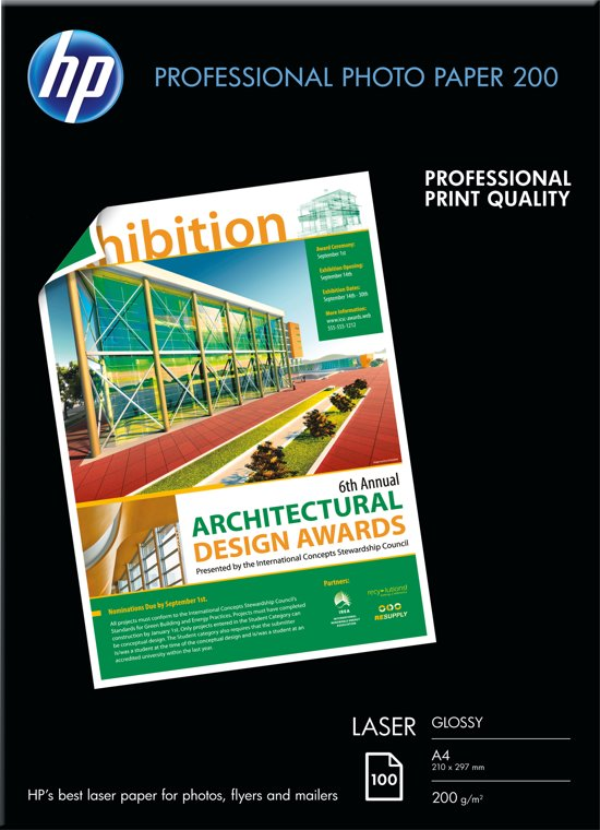 HP Professional Laser Photo Paper, glanzend, 200 gr/m², 100 vel, A4/210 x 297 mm papier voor inkjetprinter