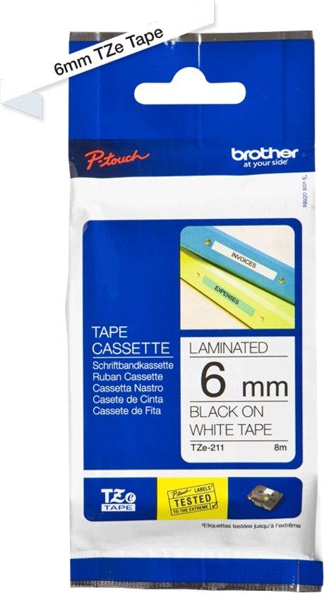 Brother TZE-211 Zwart op wit TZe labelprinter-tape