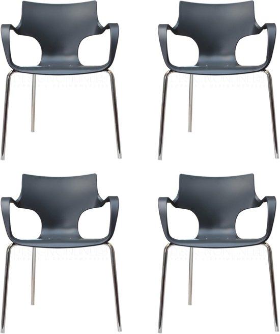bol com   24Designs   set van 4 Design stoelen Rik   Armleuningen   Antraciet   Zithoogte 46 cm